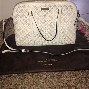Kate spade white Newbury Lane caning small purse